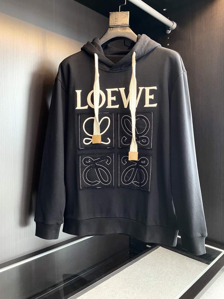 Худи Anagram embroidered hoodie in cotton Black