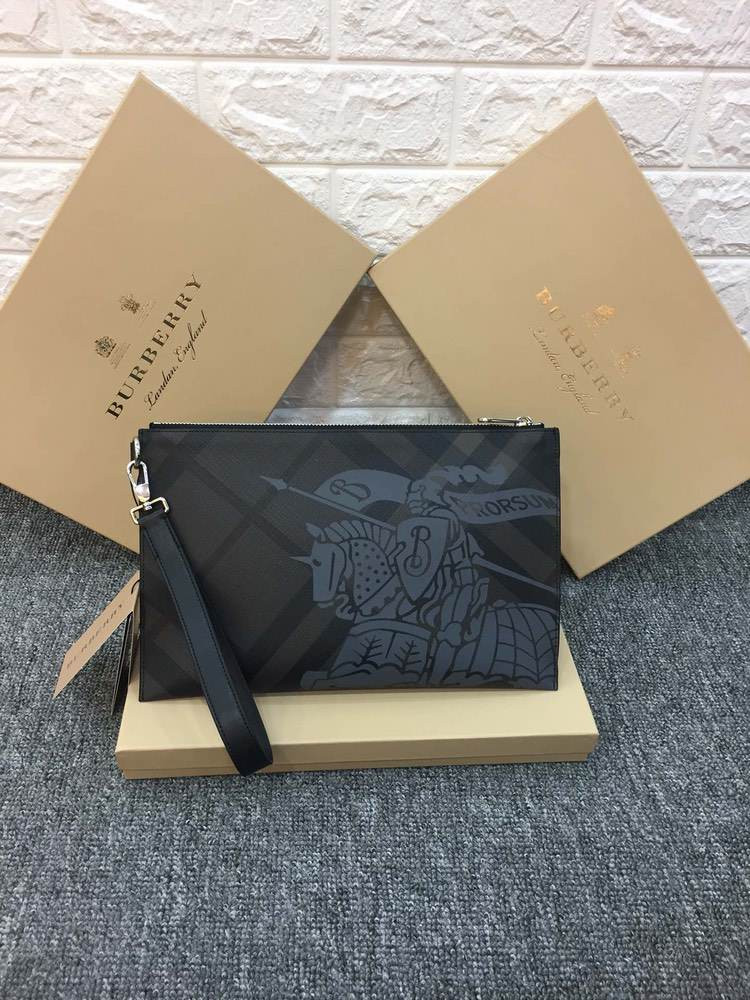 Клатч London Check and Leather Zip Pouch Black