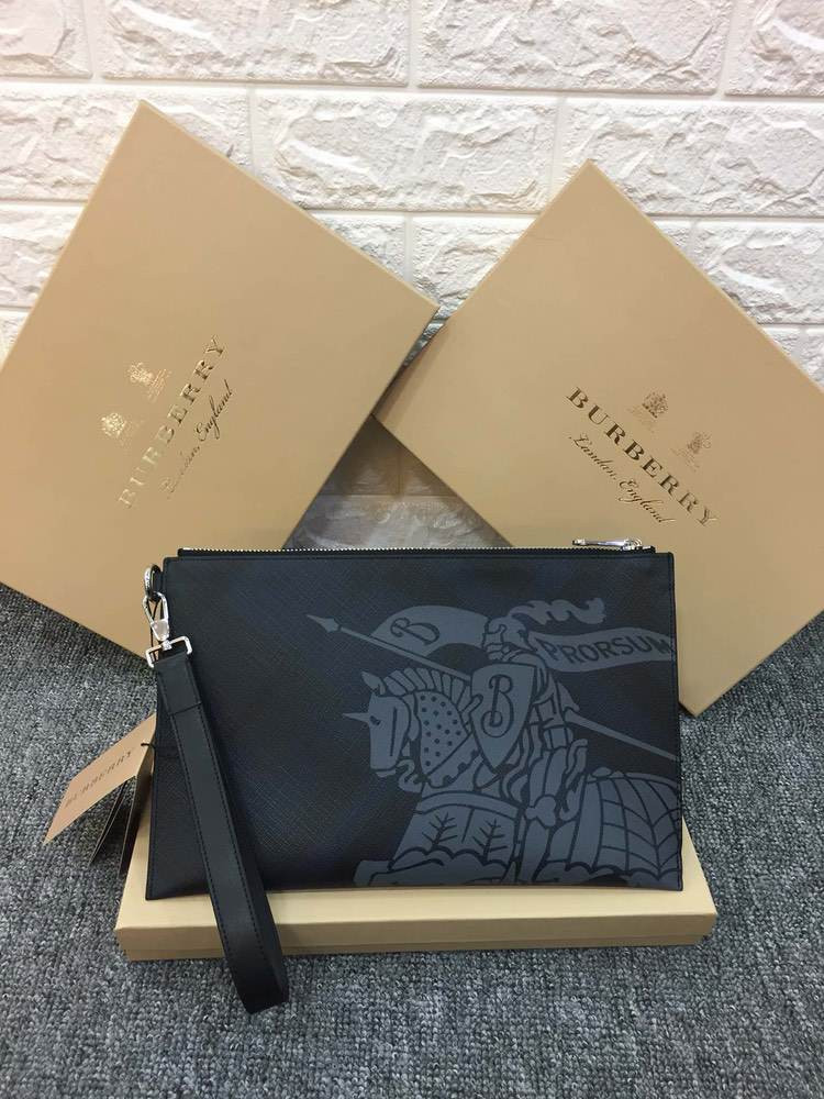 Клатч London Check and Leather Zip Pouch Blue