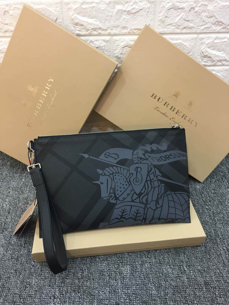 Клатч London Check and Leather Zip Pouch Grey