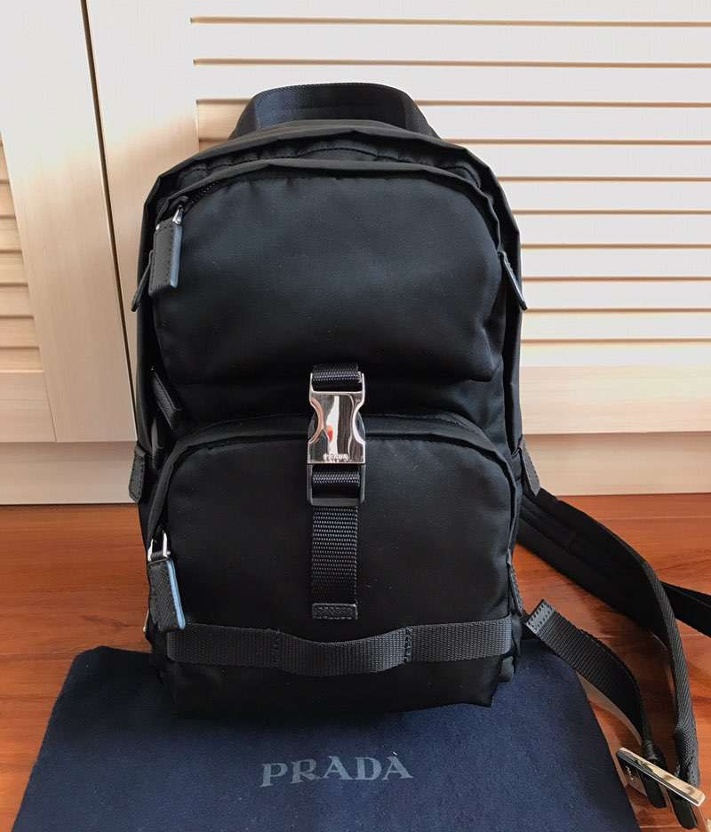 Рюкзак Re-Nylon and Saffiano leather backpack