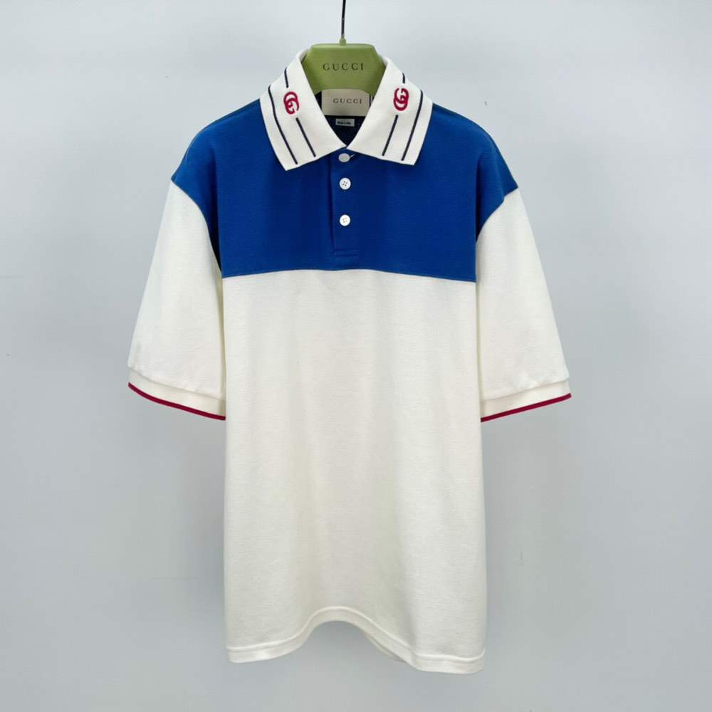 Футболка Cotton polo with embroidered collar Blue