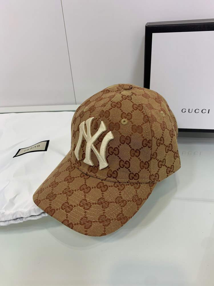Кепка GG canvas NY baseball hat Brown