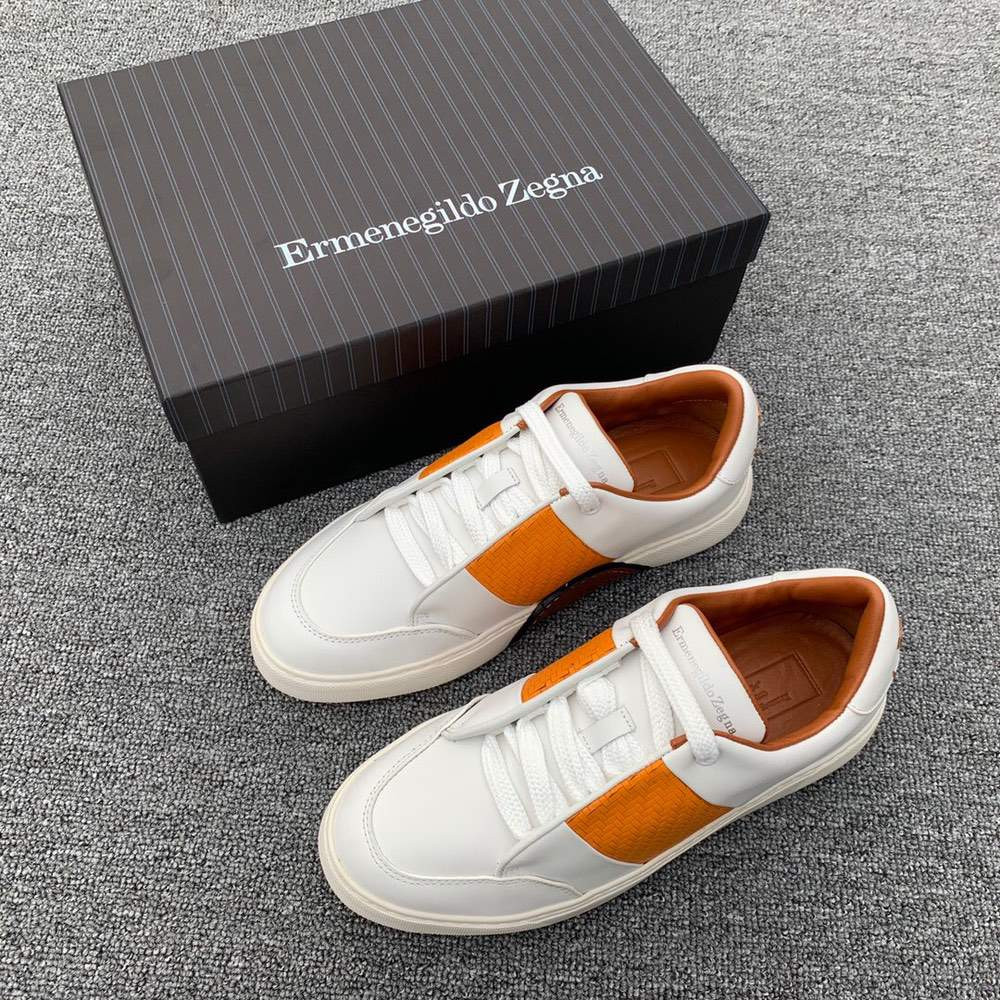 Кроссовки Smooth Calfskin Tiziano Sneakers White And Orange