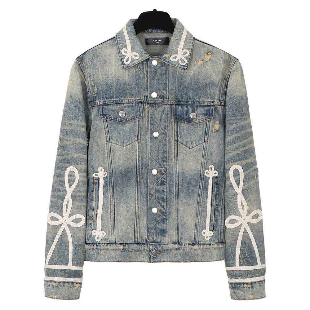 Куртка Slim-fit Rope-trimmed Distressed Denim Jacket