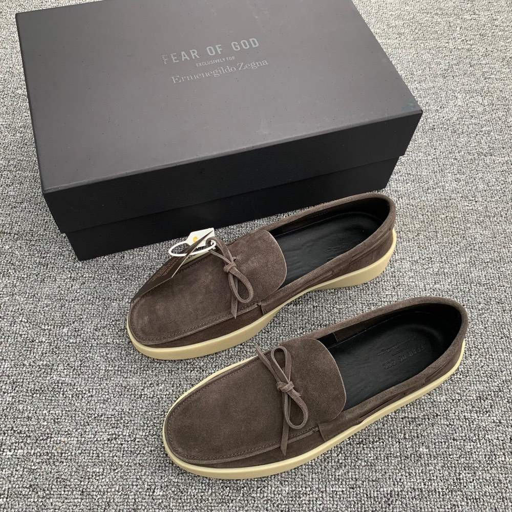 Туфли x Zegna Suede Loafers Brown
