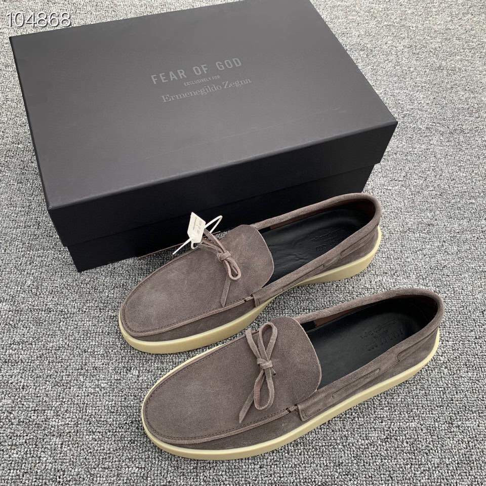 Туфли x Zegna Suede Loafers Gray
